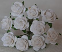 1 cm WHITE Mulberry Paper Roses